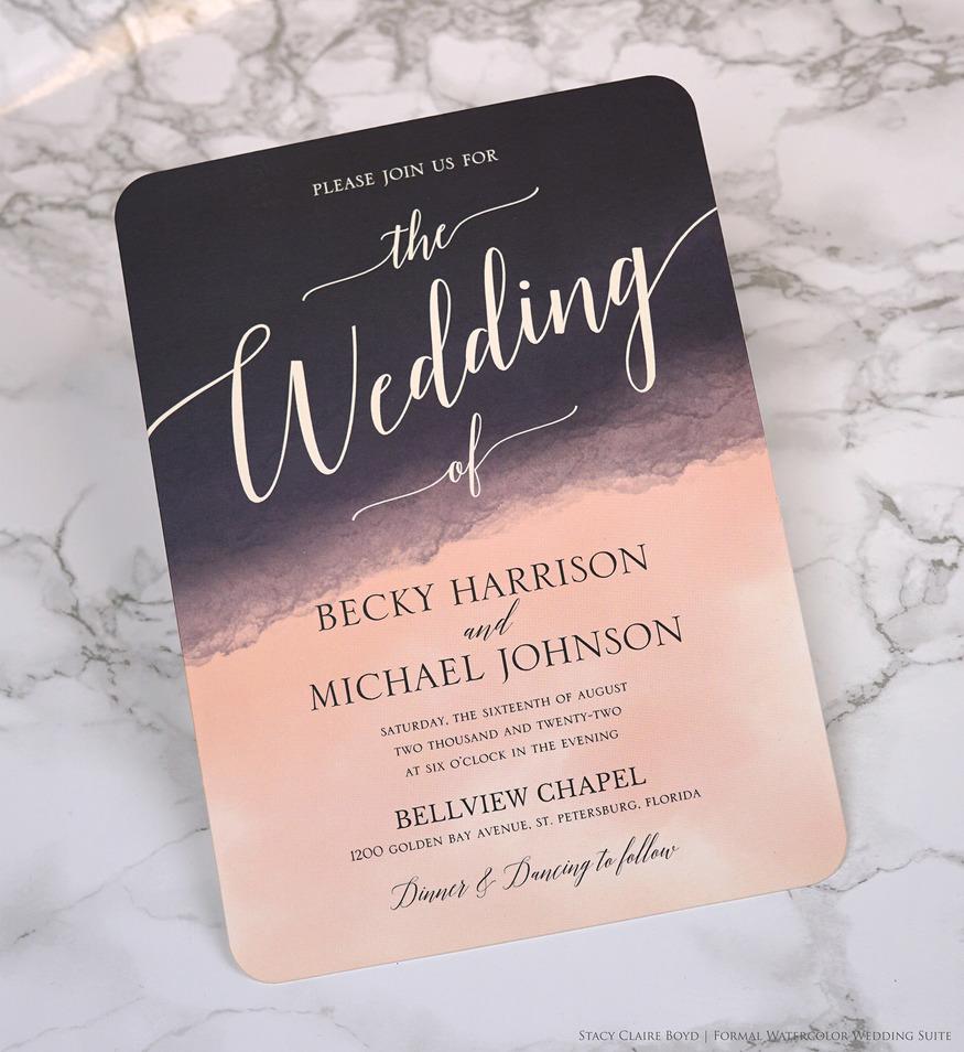 formal watercolor wedding invitation printswell