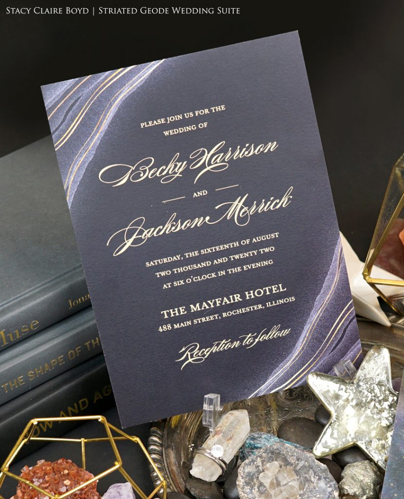 geode and gold foil wedding invitation printswell