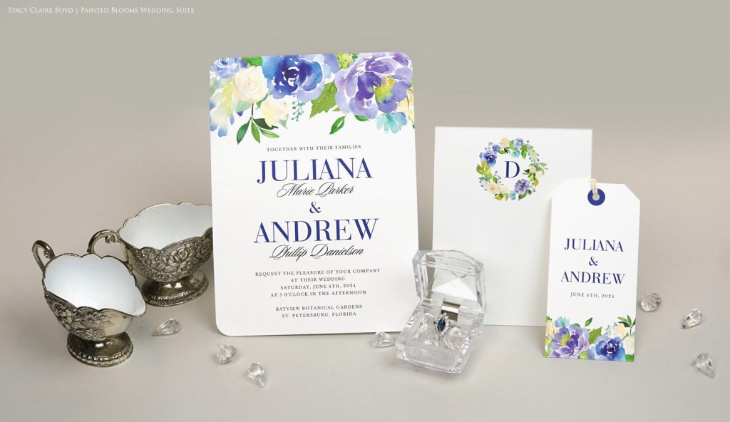 painted blooms wedding invitation suite printswell