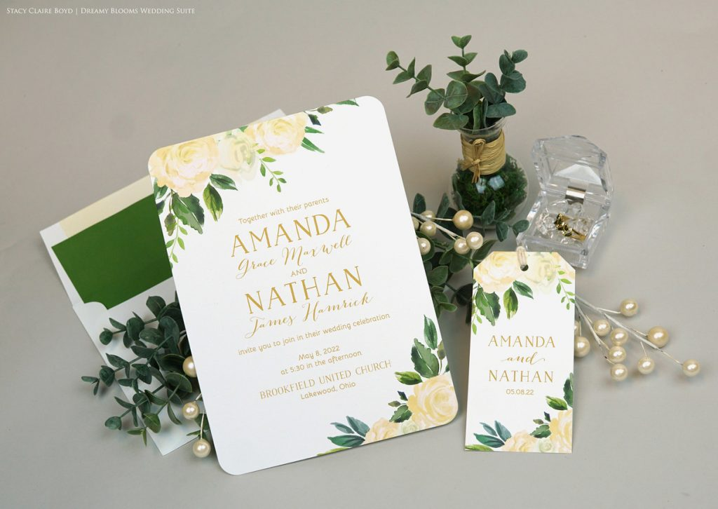dreamy blooms watercolor floral wedding invitation printswell