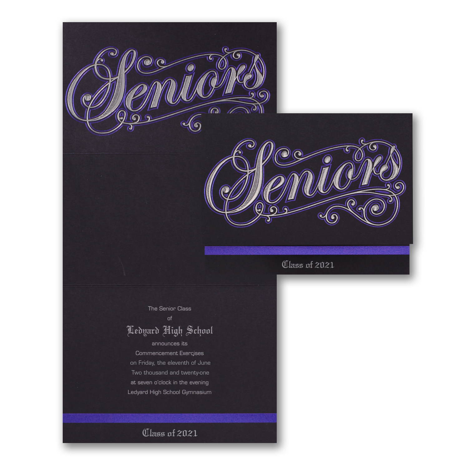 navy and black senior year graduation announcement