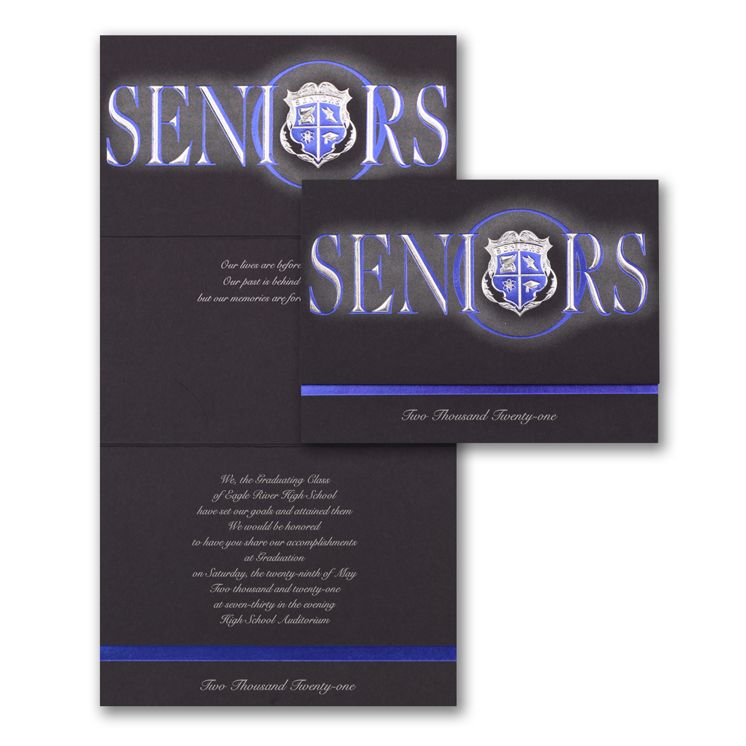 seniors blue crest black graduation announcement