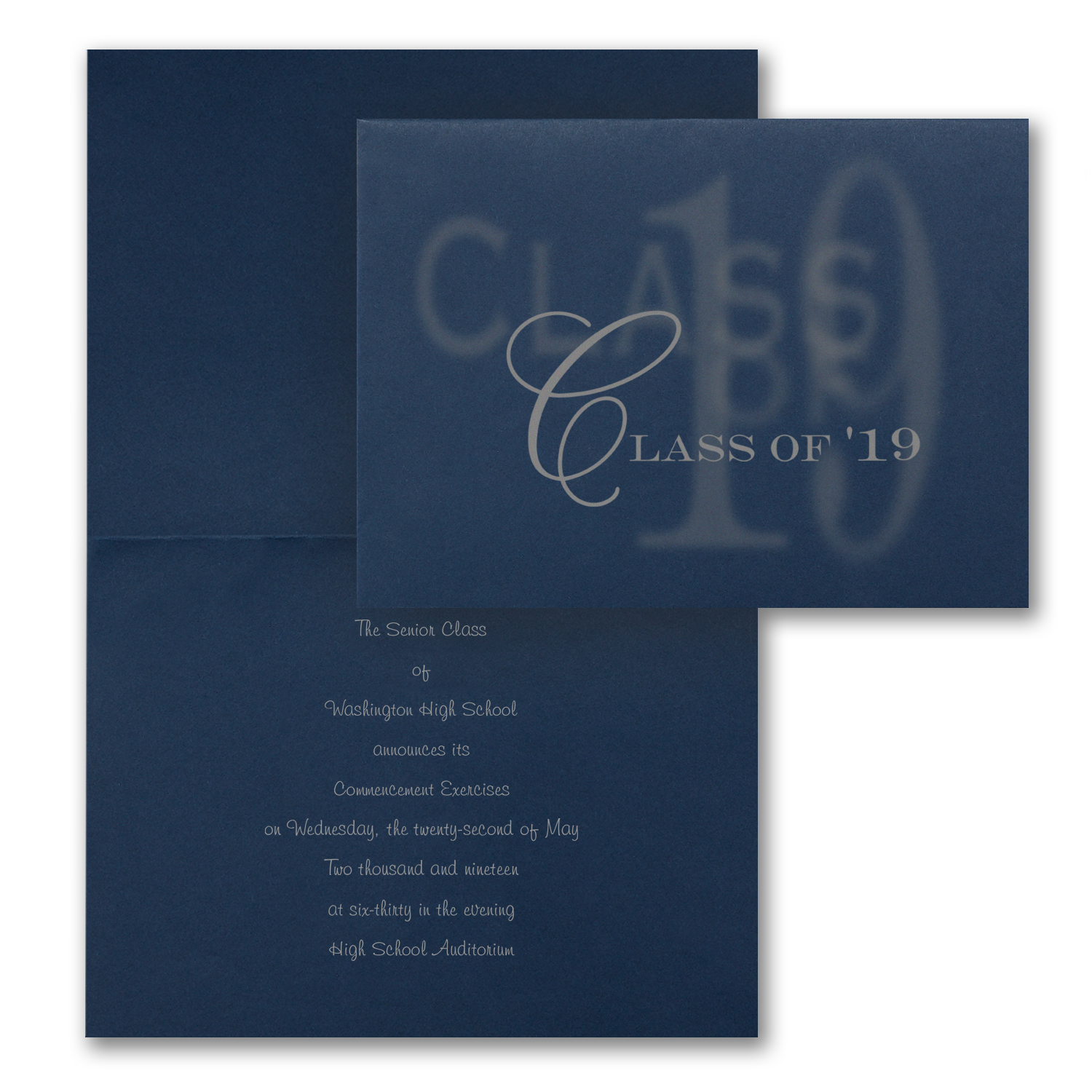 faded navy folded graduation announcement
