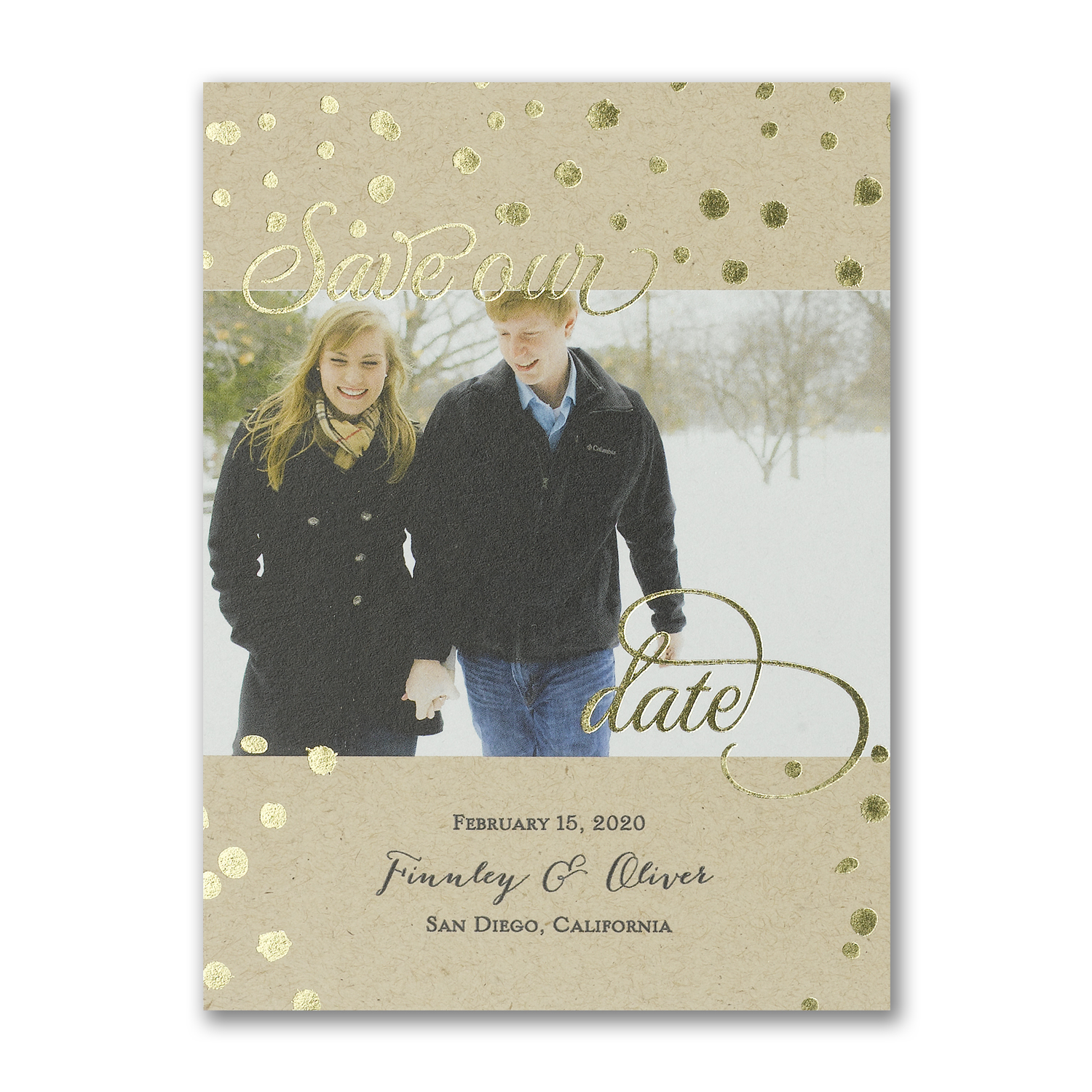 shimmer kraft photo save the date gold foil carlson craft