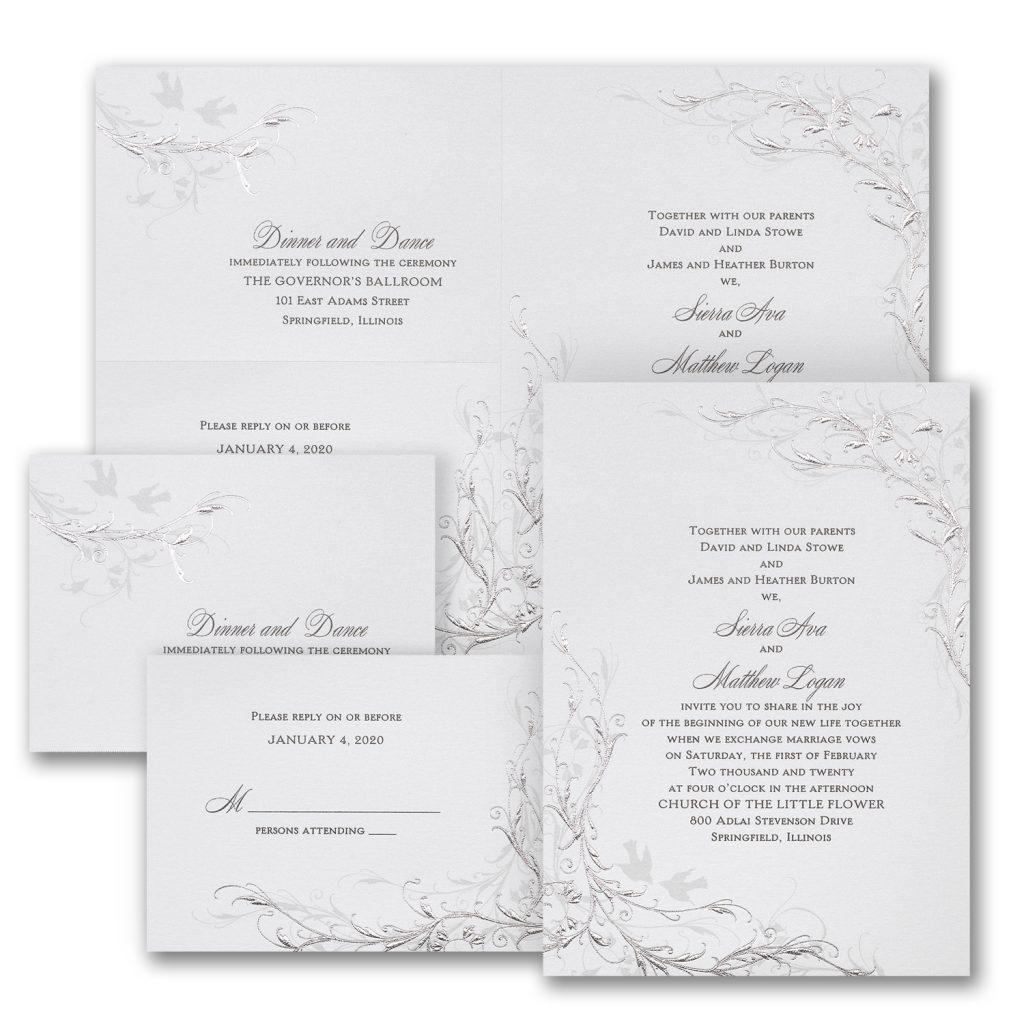 shimmering silver wedding invitation budget friendly