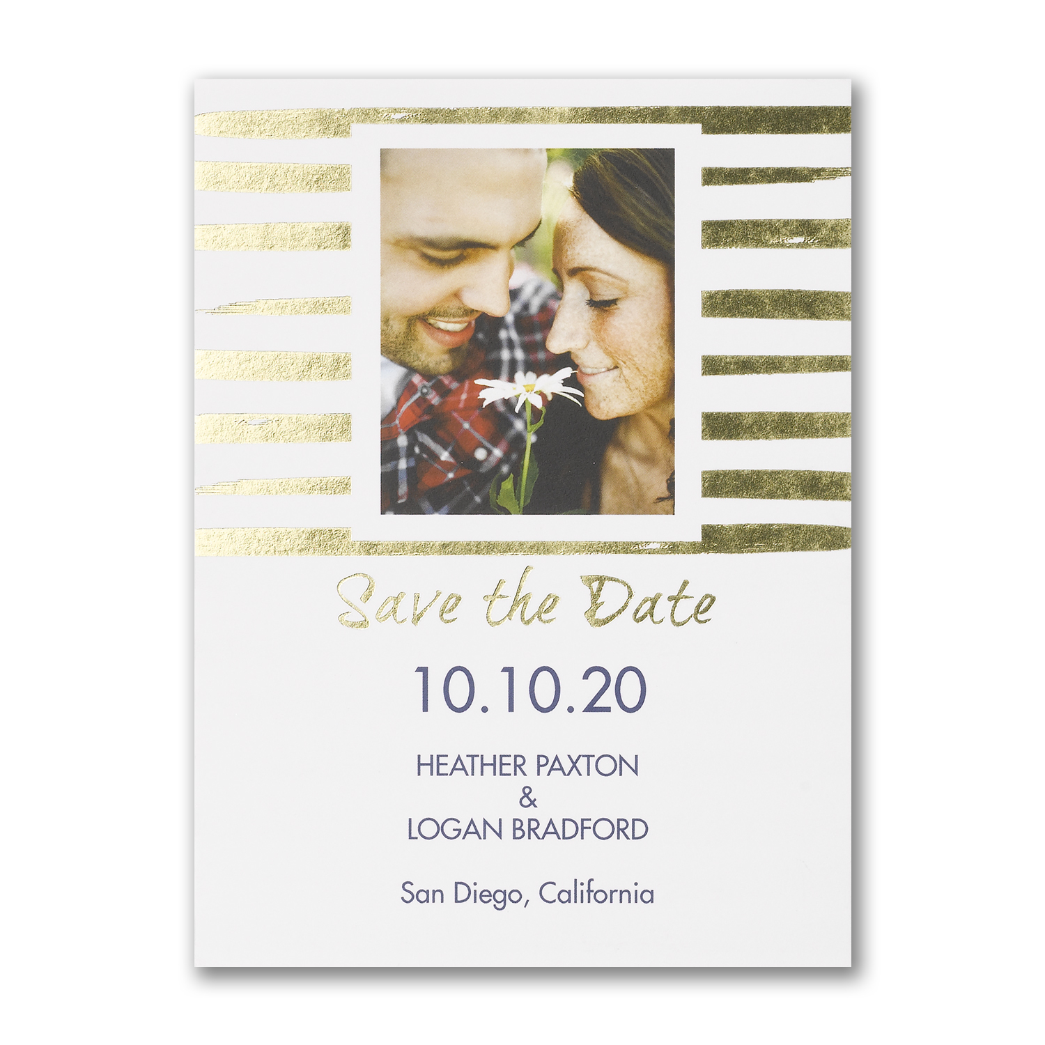 shimmering stripes photo save the date gold foil carlson craft