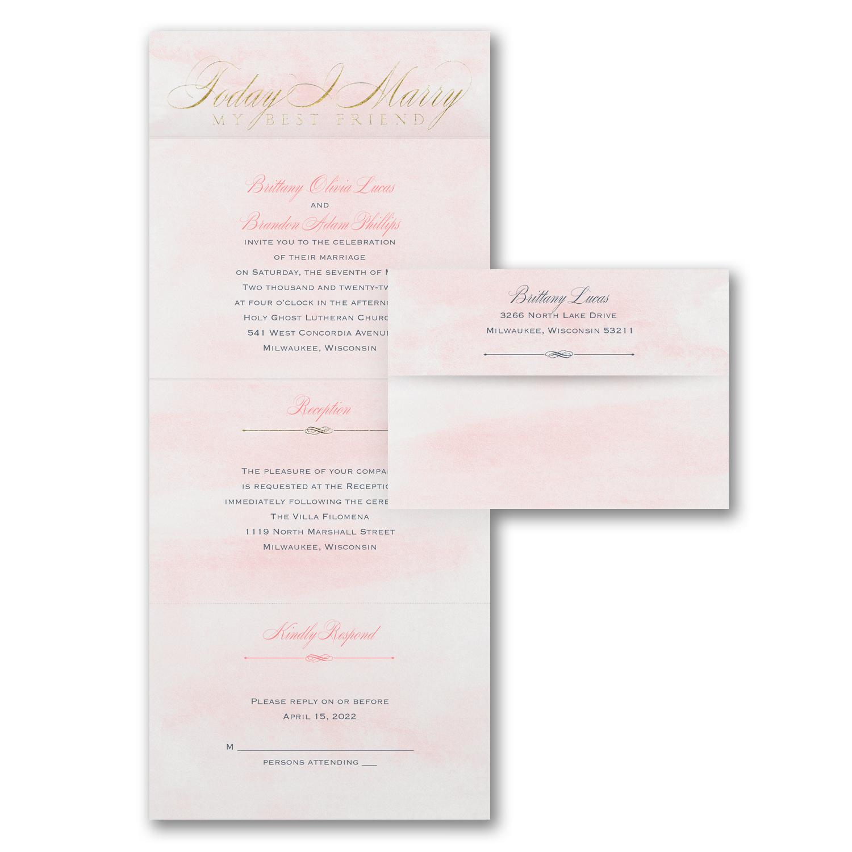 pink seal n send all in one wedding invitation