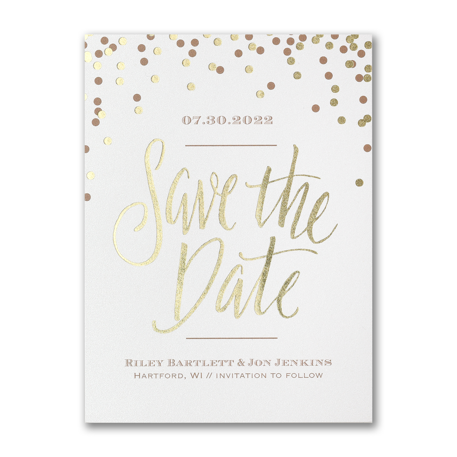 shining date gold foil confetti save the date carlson craft