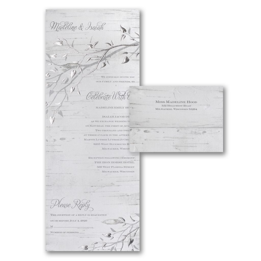 silver leaf invitation