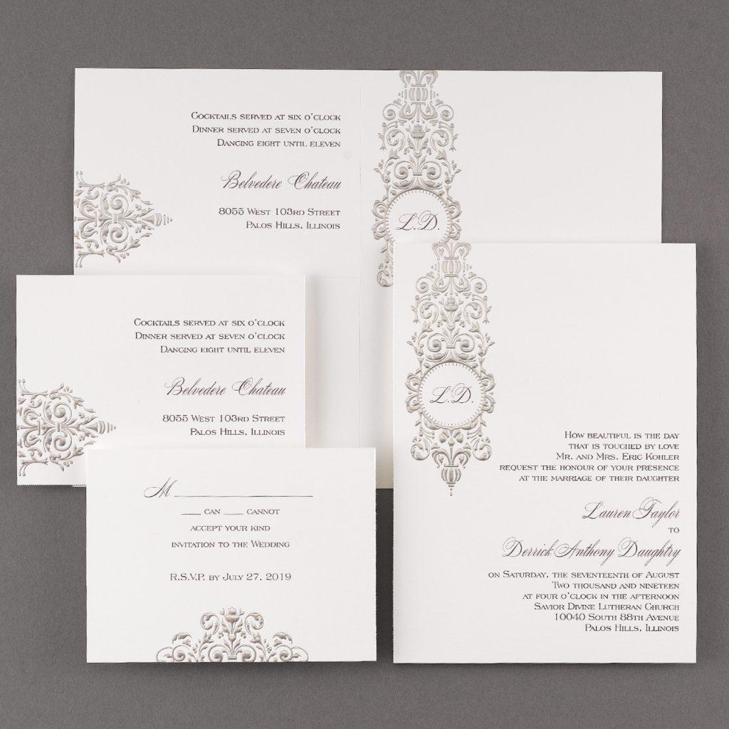 silver damask wedding invitation budget friendly