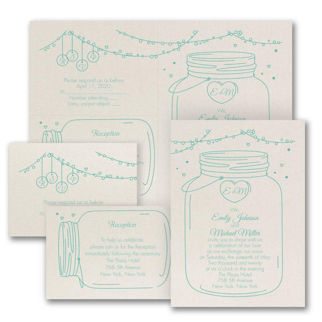 mason jar rustic wedding invitation budget friendly