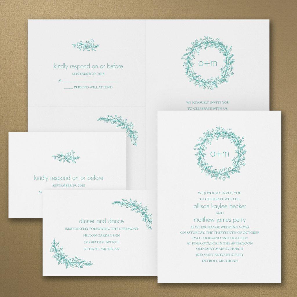 flower wreath wedding invitation budget friendly