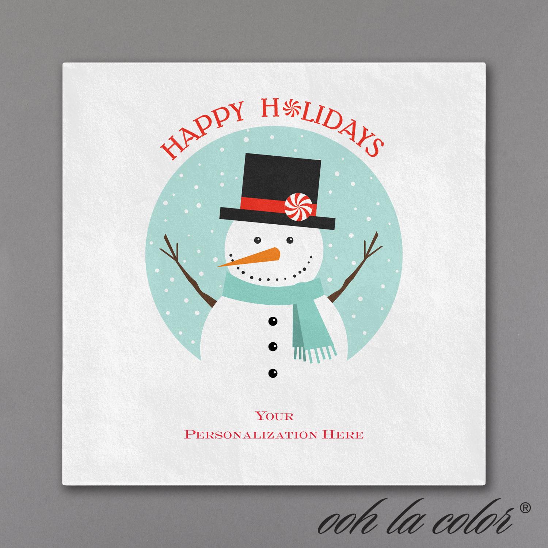 snowman cocktail napkin