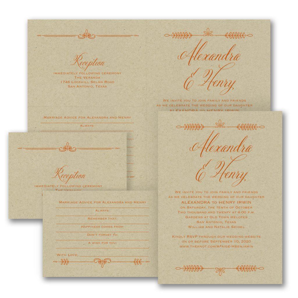 laurel wedding invitation kraft budget friendly