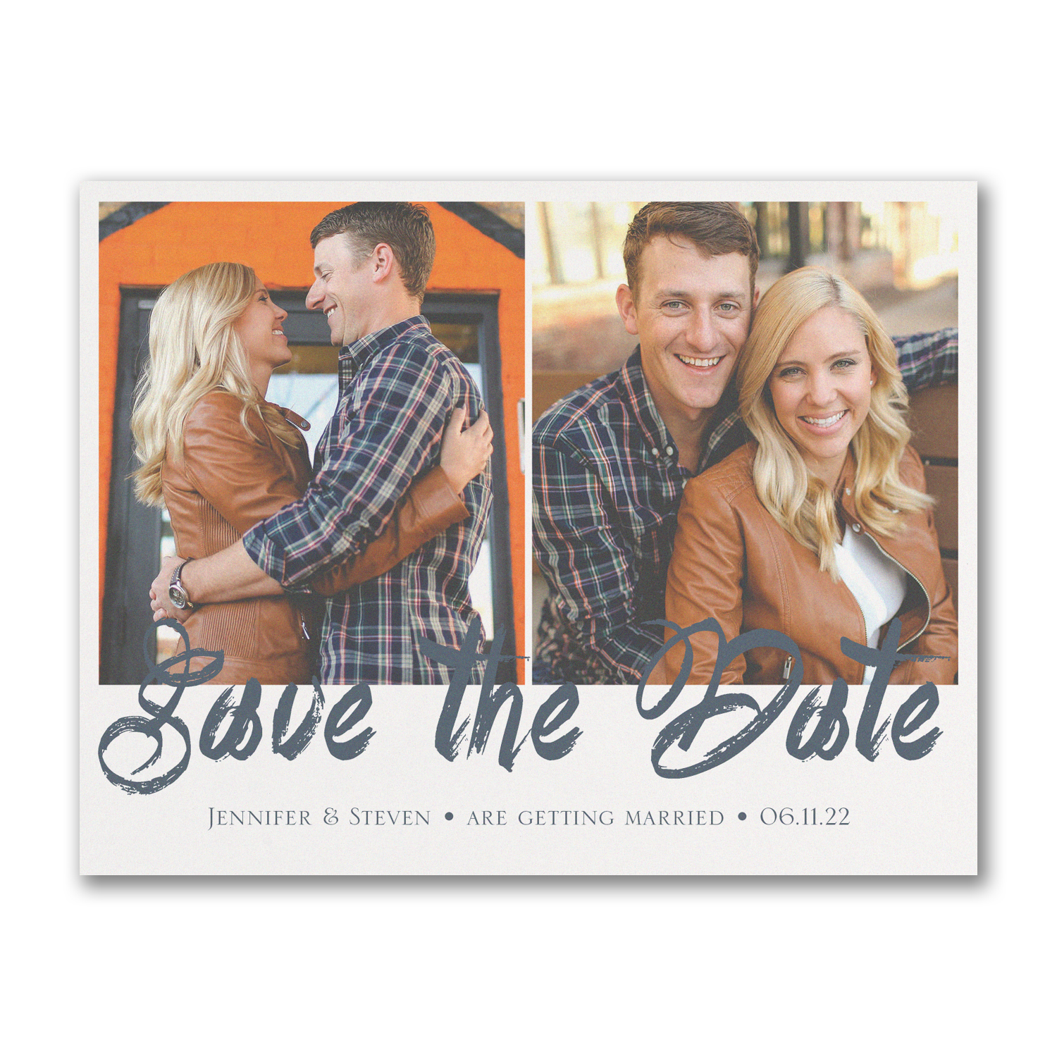 stylish brush stroke photo save the date carlson craft
