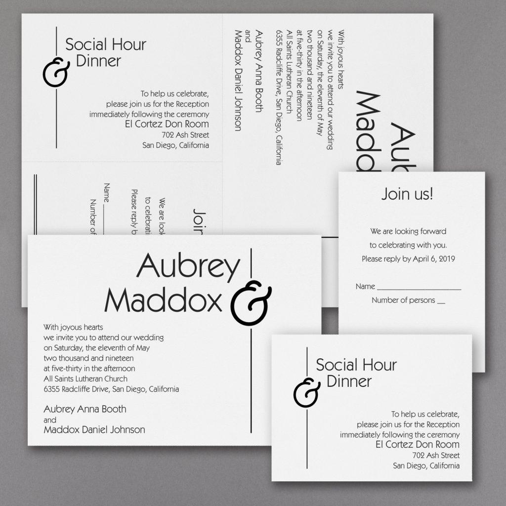 typography wedding invitation budget friendly