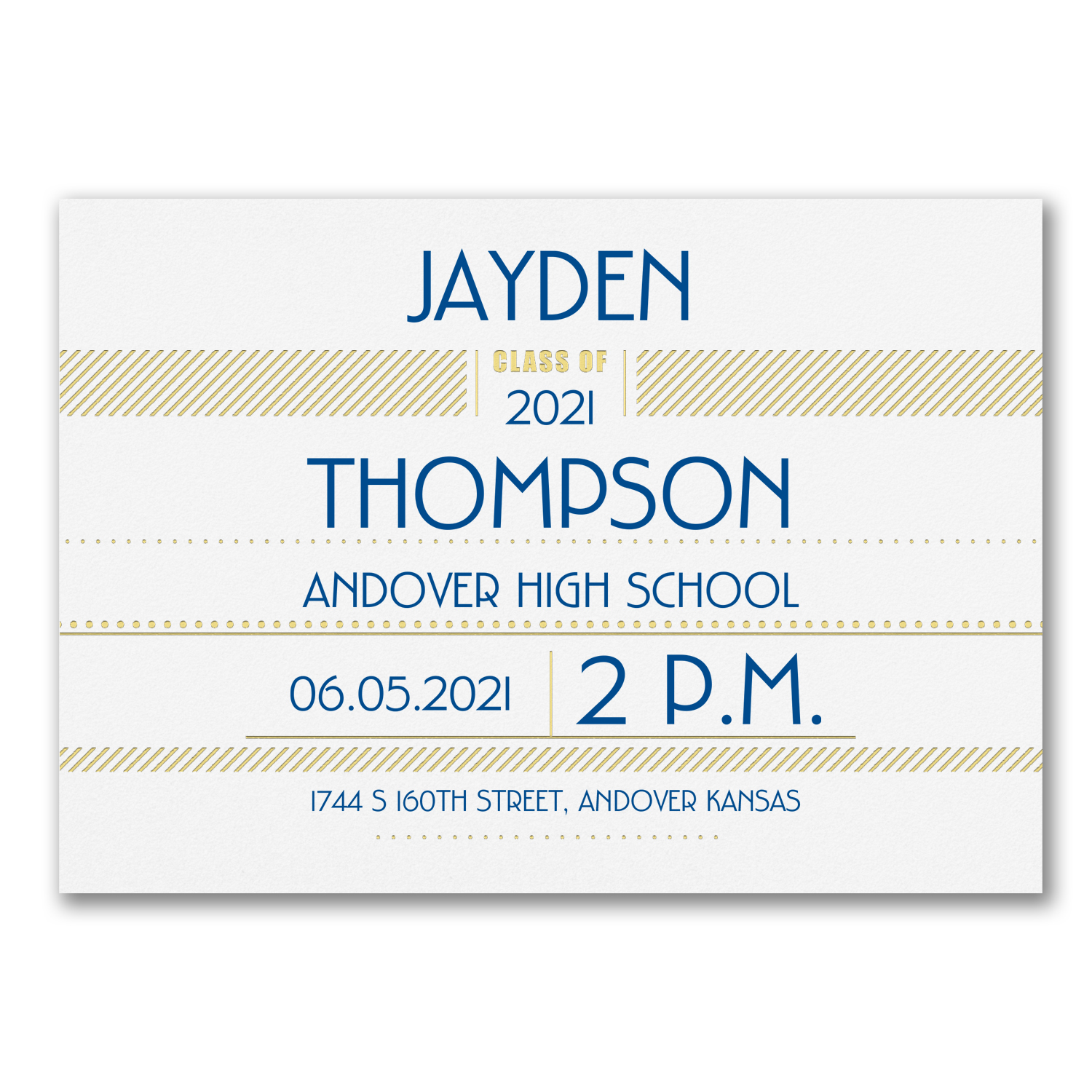 super shine gold foil horizontal graduation invitation