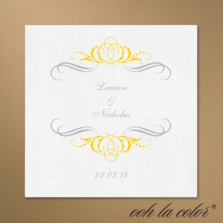 french filigree cocktail napkin yellow wedding