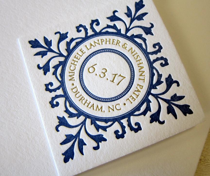 letterpress invitation tag