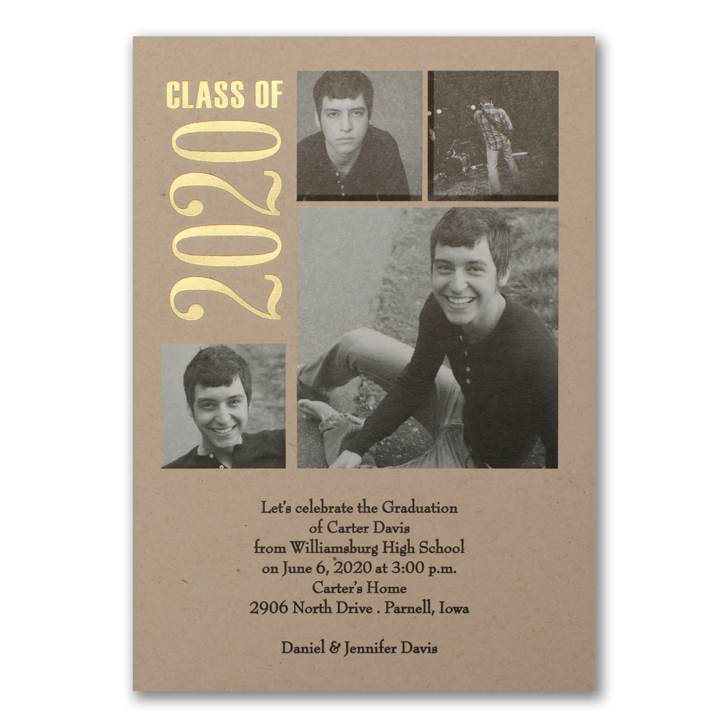time to shine photo collage gold foil graduation announcement