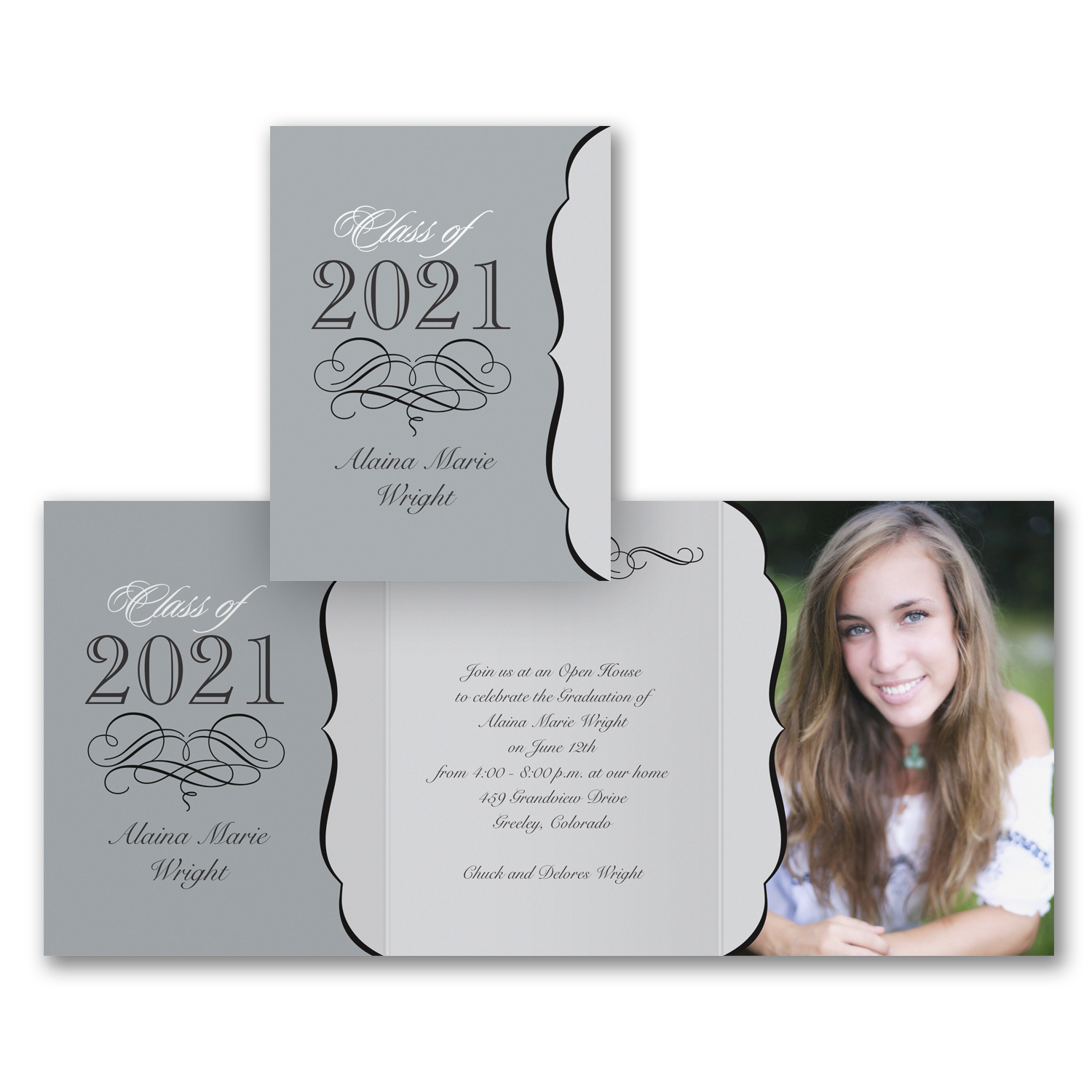 today's vintage trifold photo graduation invitation