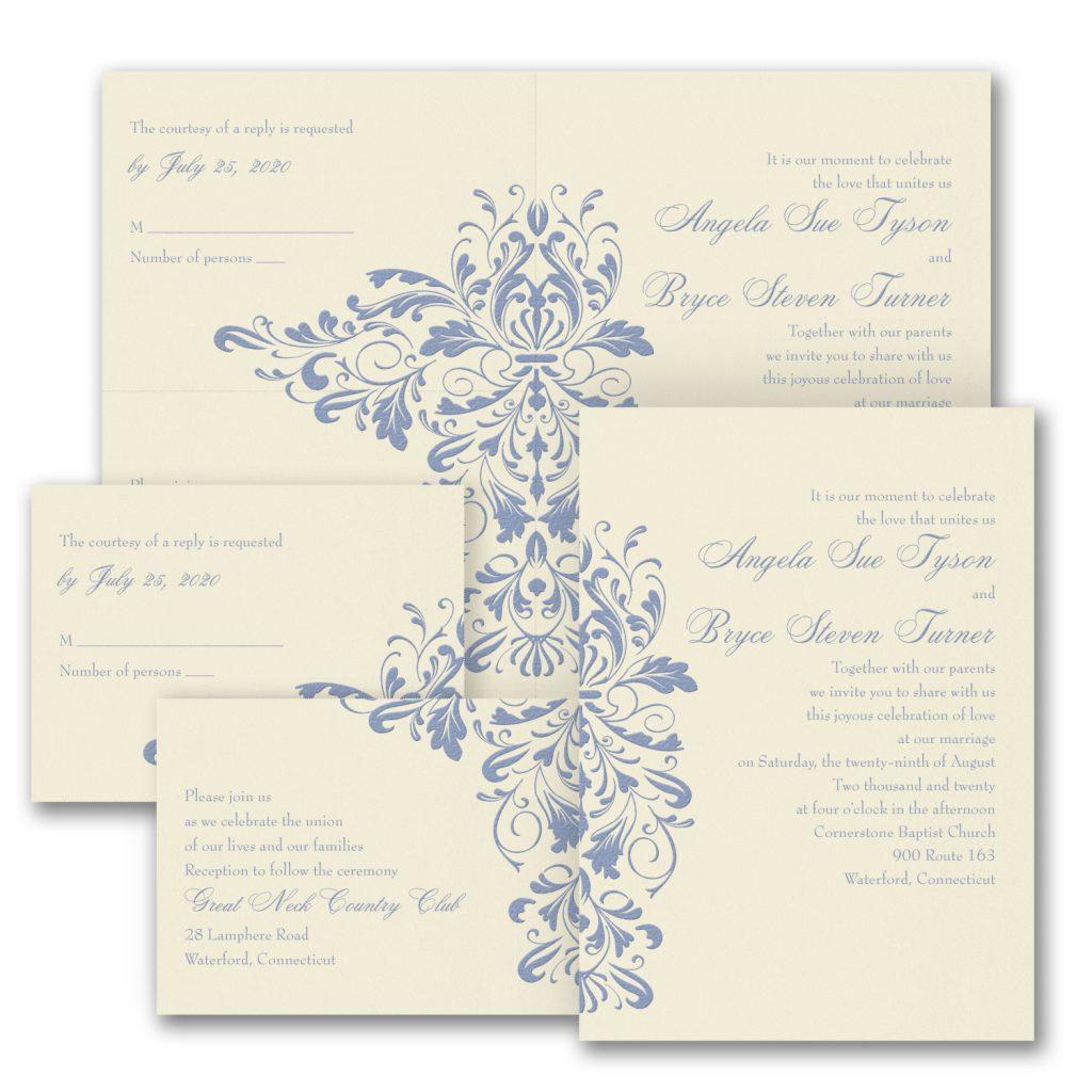damask wedding invitation budget friendly