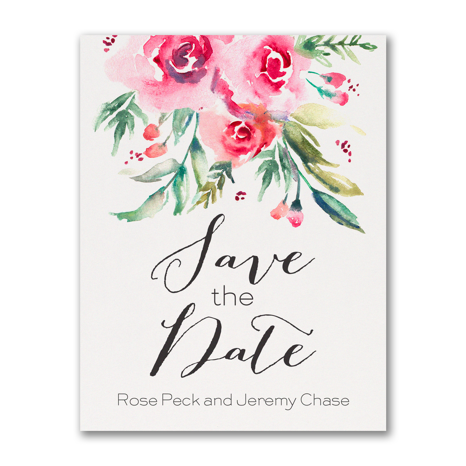 pink floral save the date postcard