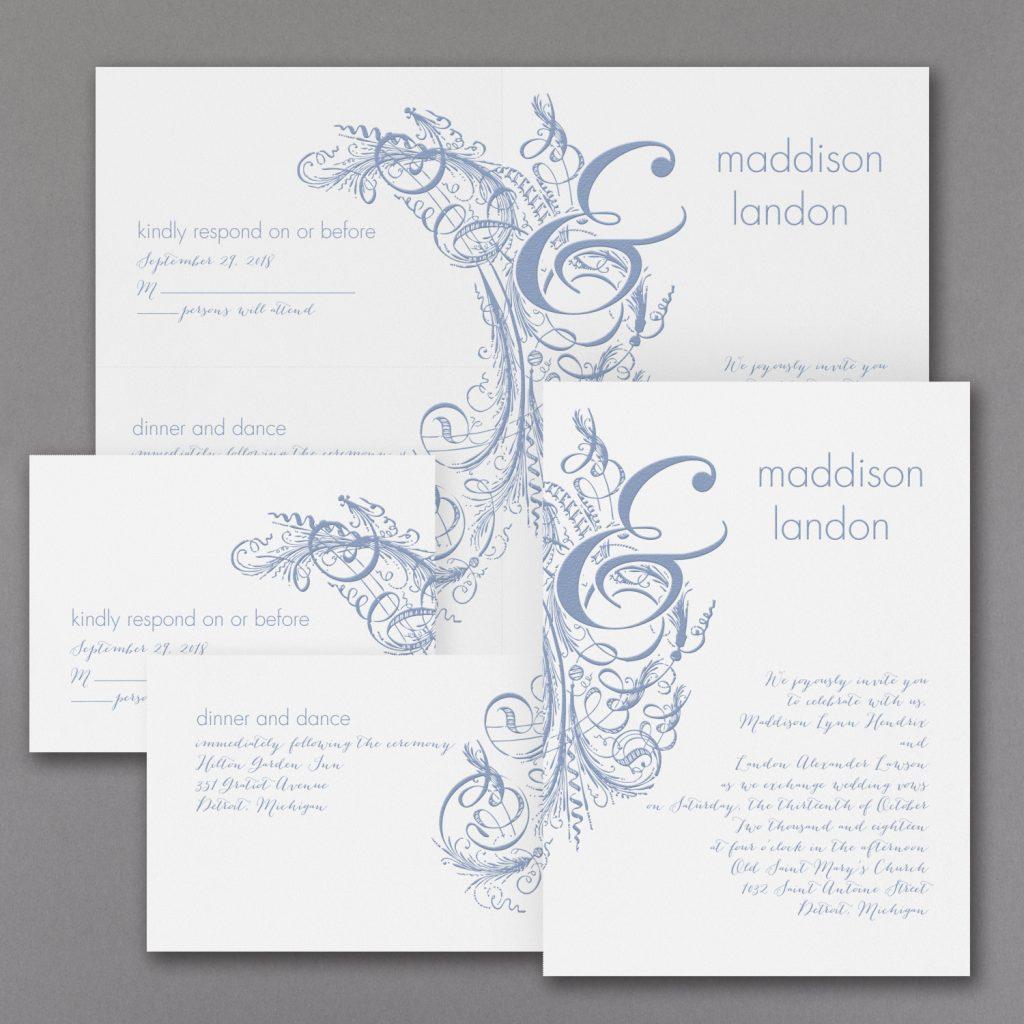 vintage calligraphy wedding invitation budget friendly