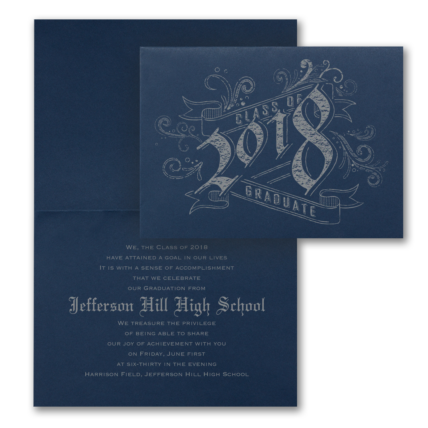 navy folded graduation announcement