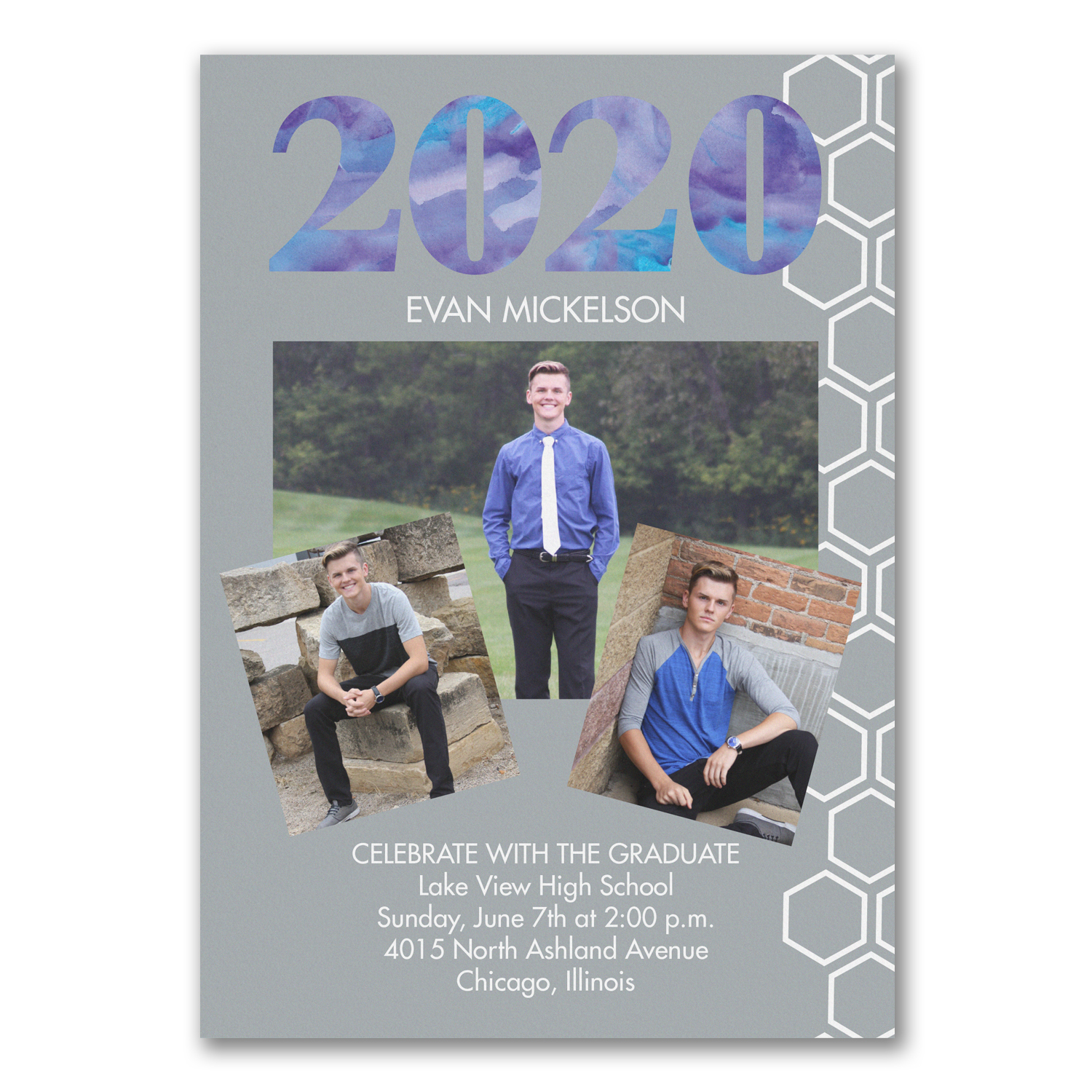 geometric watercolor photo collage graduation announcement