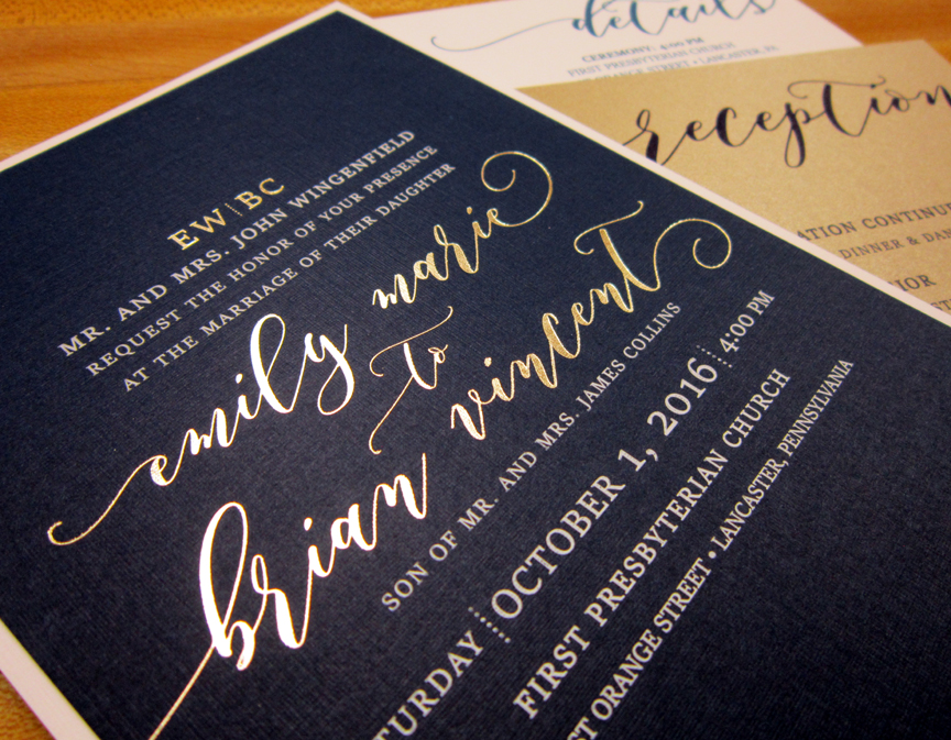 Navy and gold foil invitation