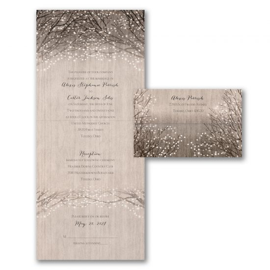 wooden rustic shimmer all in one wedding invitation