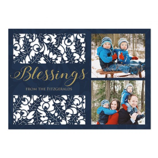 blessings of holly holiday photo card
