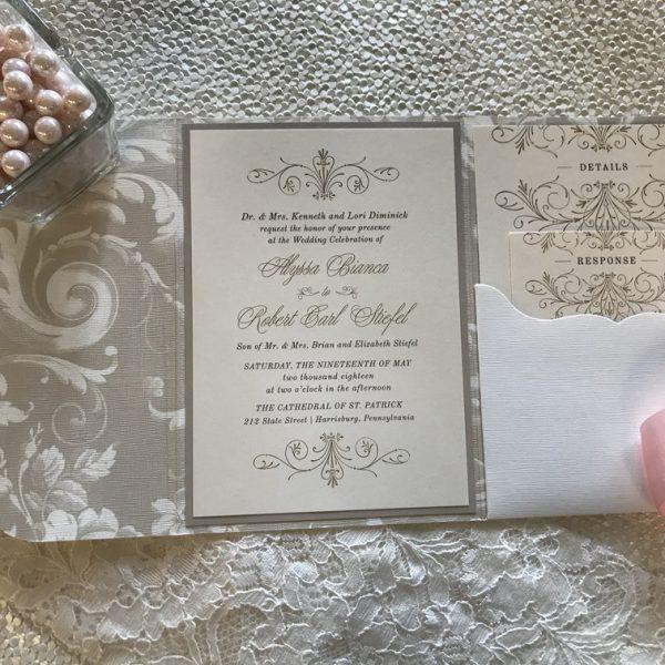patterned wedding invitation pocket ivory
