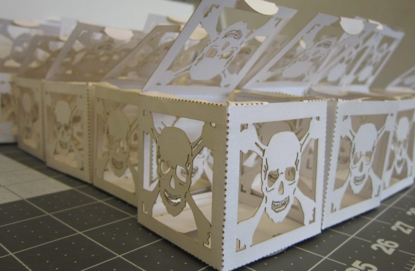 skull laser cut treat boxes