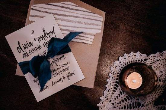 dark and moody wedding invitation striped liner navy satin ribbon 2019 wedding