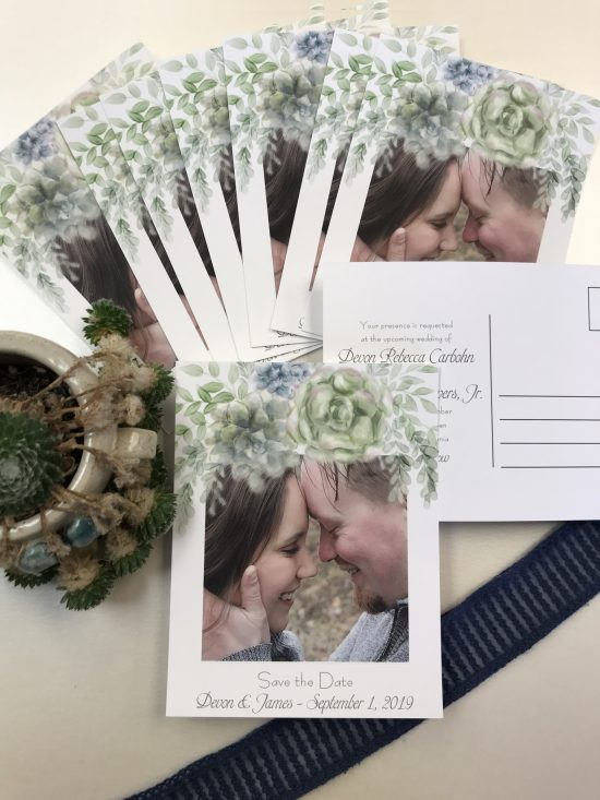 succulent photo save the dates postcards