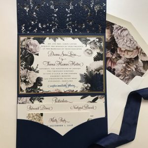 floral navy laser cut pocket wedding invitation