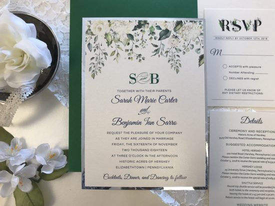 watercolor silver foil custom wedding invitations green envelopes