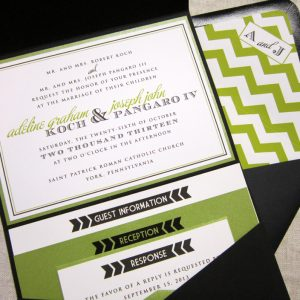 green wedding invitation chevron