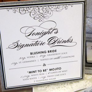 silver glitter signature drink sign