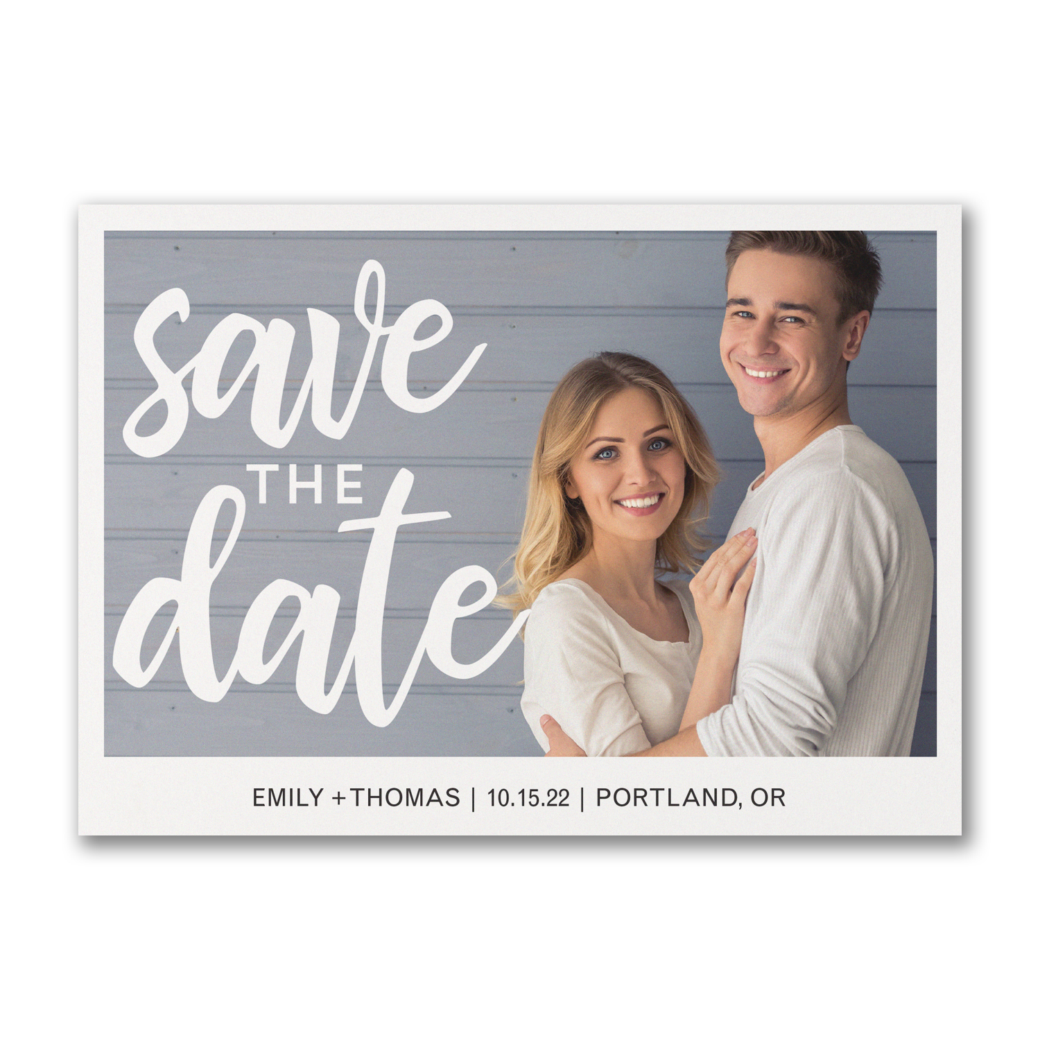 classically modern double sided photo save the date polka dots carlson craft