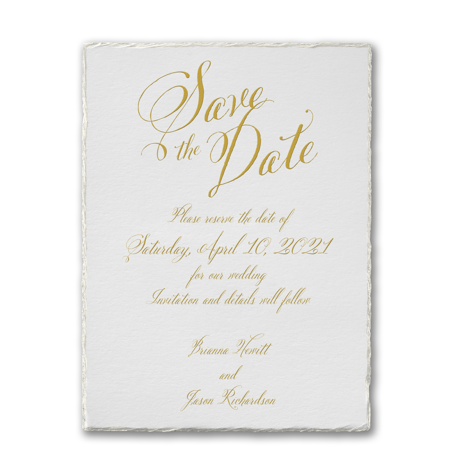 deckle love save the date card torn edges carlson craft