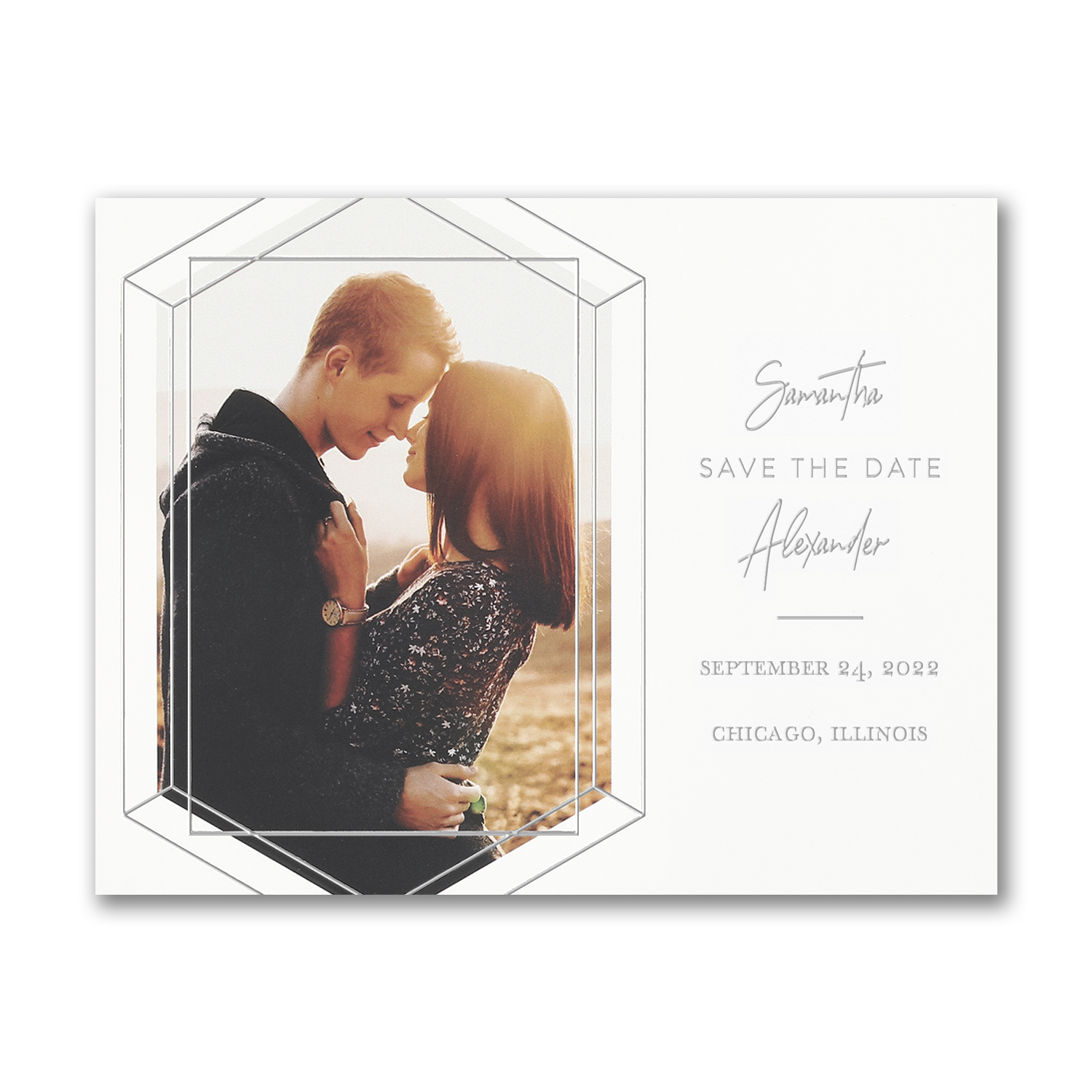 emerald engagement geometric photo save the date carlson craft