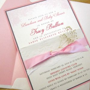 lace baby shower invitation