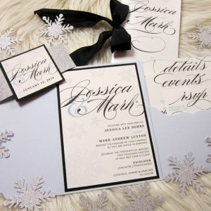 winter wedding invitation snowflakes