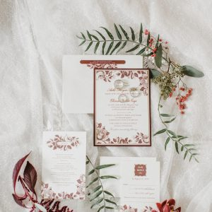 autumn inspired wedding invitation red