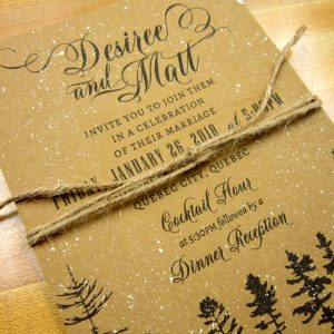 kraft winter wedding invitation