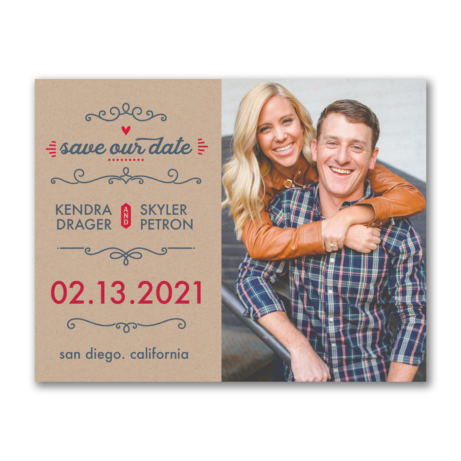 kraft photo save the date postcard