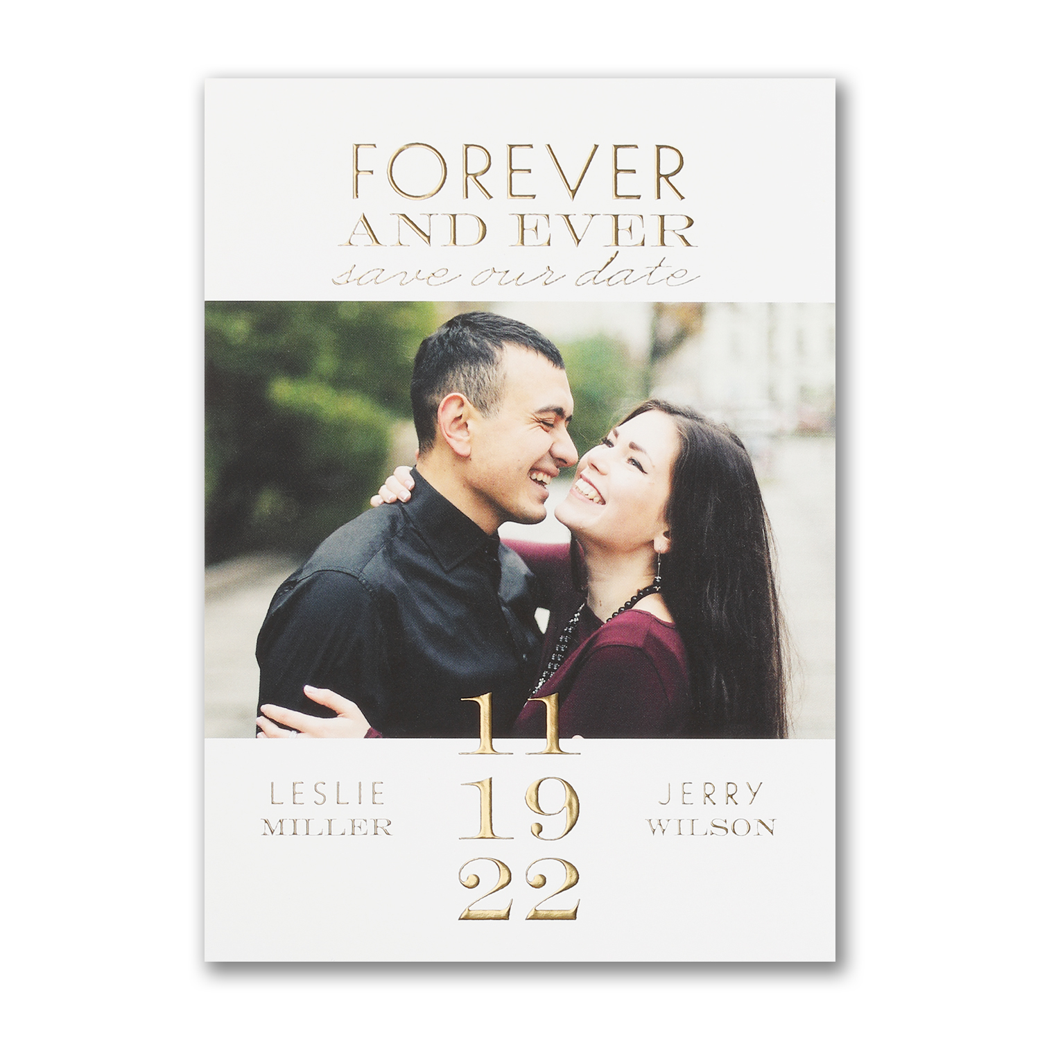 modern coupling gold foil photo save the date